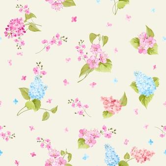 Padrão sem emenda botânico. flor lilás desabrochando.
