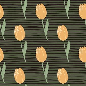 Padrão sem emenda botânico simples com ornamento de tulipas.
