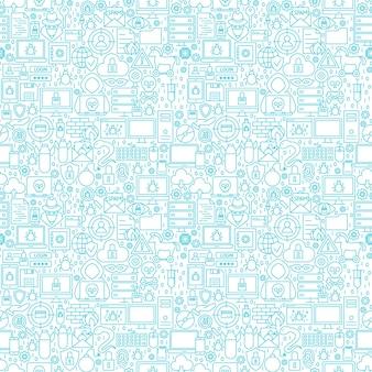 Padrão sem emenda branco de segurança de internet. ilustração em vetor de fundo de contorno.