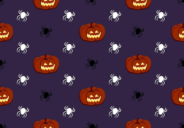 Padrão sem emenda brilhante com abóboras e aranhas no fundo roxo impressão festiva de outono para hall ...