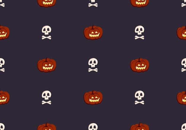 Padrão sem emenda brilhante com abóboras e caveiras decoração festiva de outono para feriado de halloween outubro.