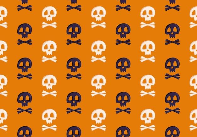 Padrão sem emenda brilhante com caveiras e ossos cruzados em impressão de moda de fundo laranja para festa de crianças ...