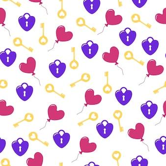 Padrão sem emenda brilhante com chaves de fechaduras e balões em forma de coração