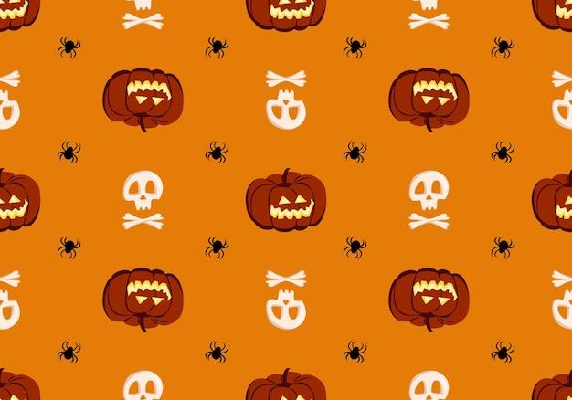 Padrão sem emenda brilhante com crânios de abóboras e aranhas decoração festiva de outono para hol ...