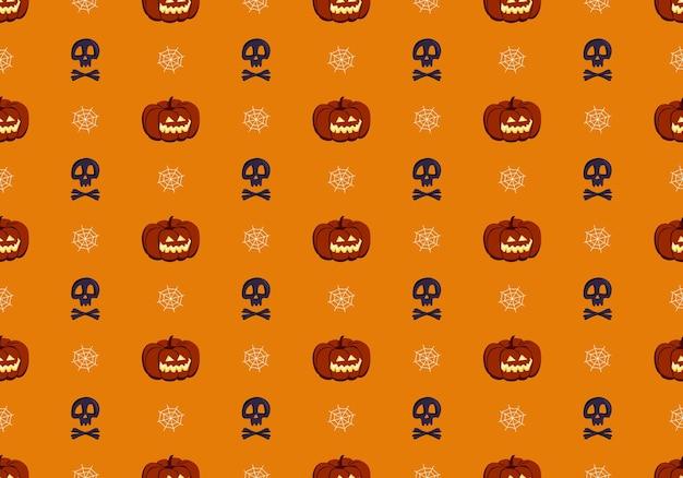 Padrão sem emenda brilhante com crânios de abóboras e aranhas web decoração festiva de outono para o dia das bruxas.