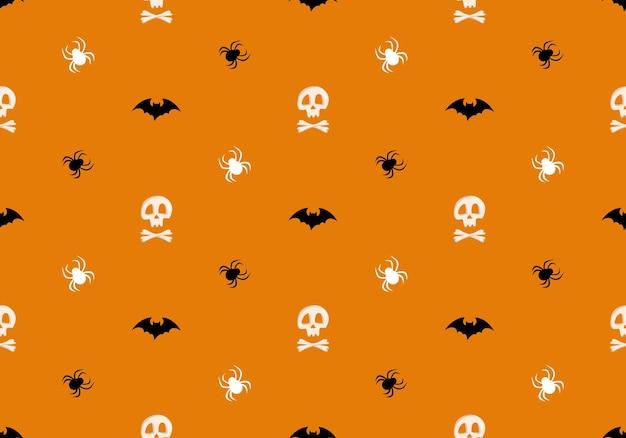 Padrão sem emenda brilhante com crânios e ossos cruzados, aranhas e morcegos em fundo laranja, moda pri ...