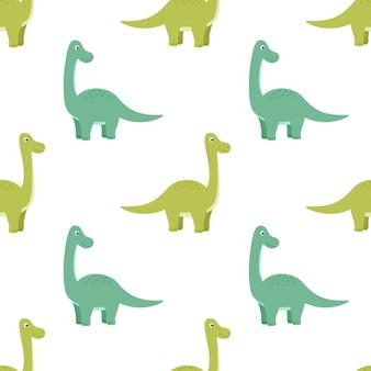 Padrão sem emenda brilhante com dinossauros, ilustração vetorial