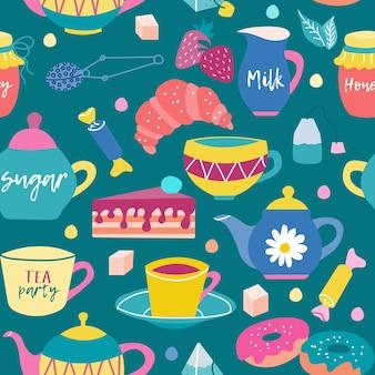 Padrão sem emenda brilhante com doces no café da manhã com chá ou café