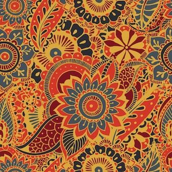 Padrão sem emenda brilhante com elementos estampados mehndi. mão desenhada papel de parede com ornamento indiano tradicional floral. fundo colorido.