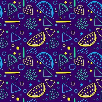 Padrão sem emenda brilhante com fatias de melancia e elementos geométricos no estilo de memphis