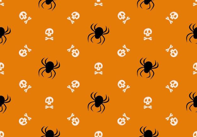 Padrão sem emenda brilhante com ossos cruzados de crânio e aranhas em impressão de moda de fundo laranja para criança ...