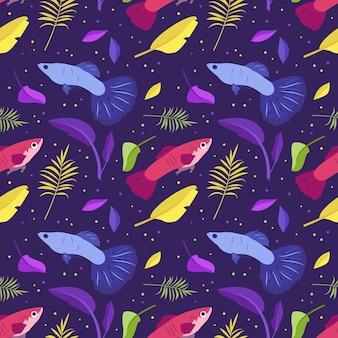 Padrão sem emenda brilhante com peixes fantásticos