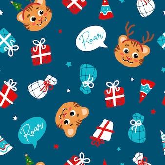 Padrão sem emenda brilhante de natal em estilo cartoon tiger gifts estrelas chapéu de festa flocos de neve