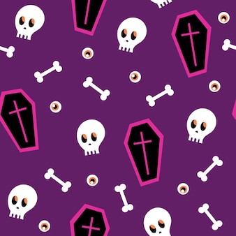 Padrão sem emenda - caixão de halloween e caveira em um fundo roxo. padrão sem emenda dos desenhos animados. textura infinita