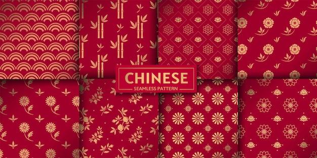 Padrão sem emenda chinês conjunto de vetores texturas geométricas marinhas florais lótus bambu ondas do mar
