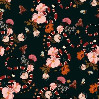 Padrão sem emenda, cobra na moda com vetor de design de flores