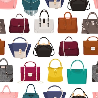 Padrão sem emenda colorido com bolsas femininas elegantes