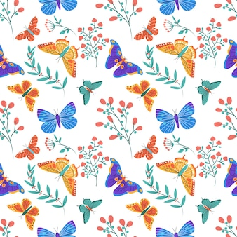 Padrão sem emenda colorido com borboletas e elementos florais
