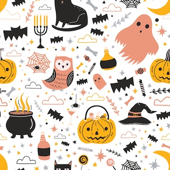 Padrão sem emenda colorido com decorações e personagens fofinhos e assustadores de halloween - fantasma, jack-o'-lantern, doces, chapéu de bruxa mágica e pote com poção