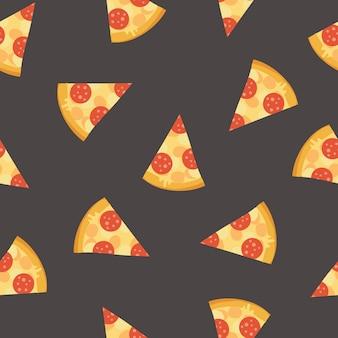 Padrão sem emenda colorido com deliciosas fatias de pizza de calabresa em fundo escuro.