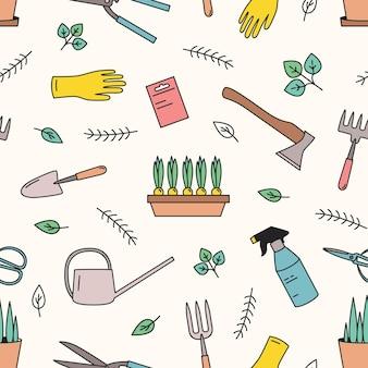 Padrão sem emenda colorido com ferramentas de jardinagem para cultivo de plantas