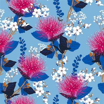 Padrão sem emenda colorido com flores no jardim e folhas. teste padrão floral desenhada de mão