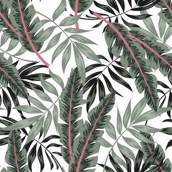 Padrão sem emenda colorido com folhas tropicais em um background de luz