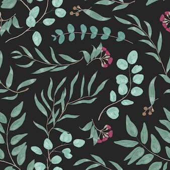 Padrão sem emenda colorido com galhos de eucalipto e flores desabrochando. folhas de fundo natural realista com plantas verdes em fundo preto. ilustração em vetor botânica elegante.