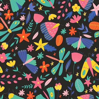 Padrão sem emenda colorido com insetos e flores padrão de vetor de verão com borboletas