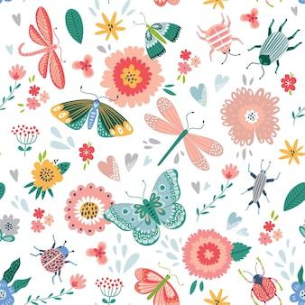 Padrão sem emenda colorido com insetos e flores.