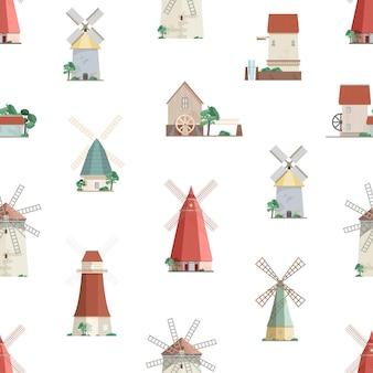 Padrão sem emenda colorido com moinhos de água e moinhos de vento em fundo branco