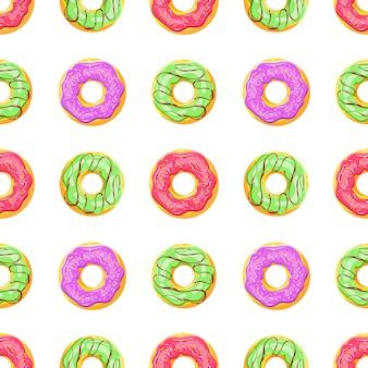Padrão sem emenda colorido com sobremesa de esmalte doce dos desenhos animados