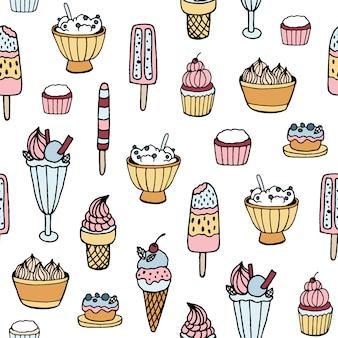 Padrão sem emenda colorido com sorvete delicioso e sobremesas leitosas de diferentes tipos em fundo branco.