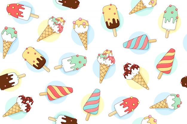 Padrão sem emenda colorido com sorvete diferente cor pastel