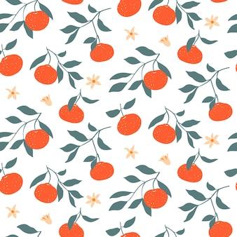 Padrão sem emenda colorido com tangerinas.