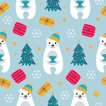 Padrão sem emenda colorido com urso polar branco bonito em um chapéu quente com caixa de presente árvore de natal