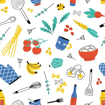 Padrão sem emenda colorido com utensílios de cozinha para cozinhar em casa ou preparação de alimentos, frutas e vegetais em fundo branco.