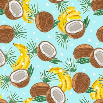 Padrão sem emenda colorido de cocos e bananas. fundo. os objetos estão isolados.