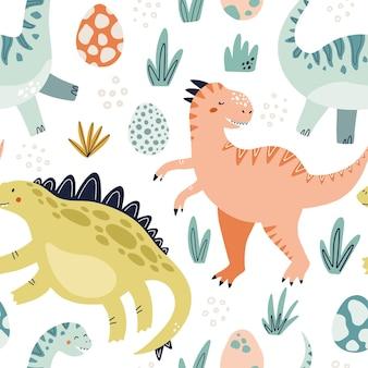 Padrão sem emenda colorido de dinossauro fofo com ilustração vetorial desenhada para papel de embrulho