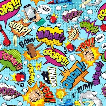 Padrão sem emenda colorido de elementos em quadrinhos