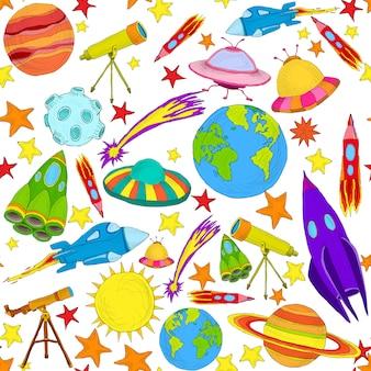 Padrão sem emenda colorido de espaço