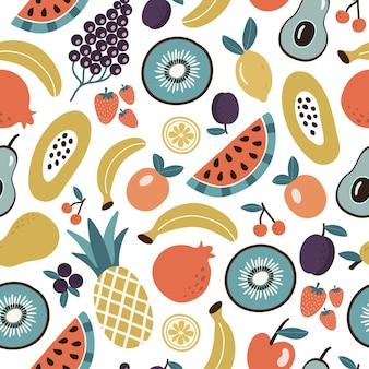 Padrão sem emenda colorido de frutas e bagas tropicais orgânicas ou comida vegetariana