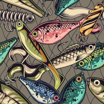 Padrão sem emenda colorido de iscas de pesca com várias iscas artificiais com ganchos de metal em estilo vintage