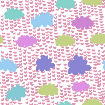 Padrão sem emenda colorido de nuvens. plano de fundo do tempo. cenário de chuva. textura para papel de parede, plano de fundo, álbum de recortes. ilustração vetorial
