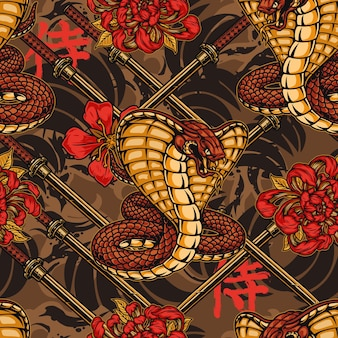 Padrão sem emenda colorido japonês vintage com lindas flores de cobra venenosa e espadas de katana