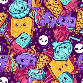 Padrão sem emenda colorido kawaii. estilo dos desenhos animados doodle personagem sweety. loja de doces de ícone de rosto emocional. ilustração desenhada à mão isolada no fundo branco