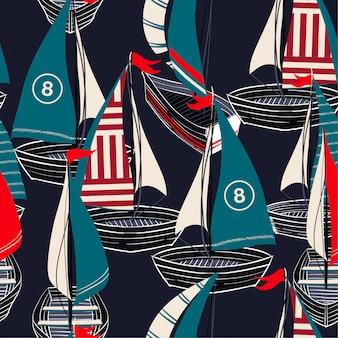 Padrão sem emenda colorido no vetor mão desenhada barco no oceano