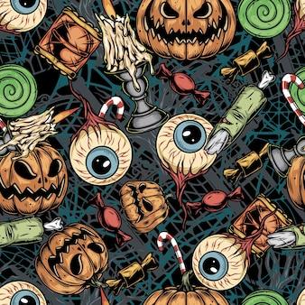Padrão sem emenda colorido vintage de halloween com olhos humanos e partes do corpo