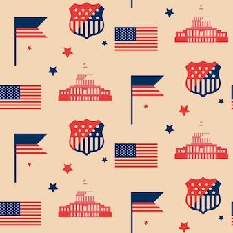 Padrão sem emenda com a bandeira americana e o capitólio dos estados unidos. textura com símbolos dos eua em estilo simples.