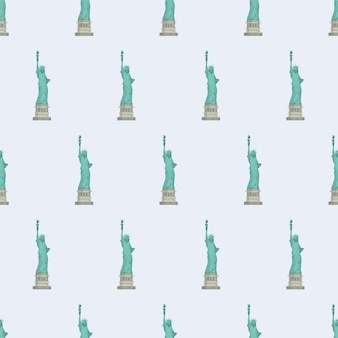 Padrão sem emenda com a estátua da liberdade. fundo sem fim. bom para cartões postais, impressões, papel de embrulho e fundos. vetor. Vetor Premium